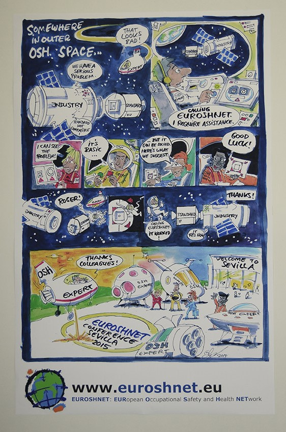 Comic poster announcing the 5th EUROSHNET conference in Sevilla 2015