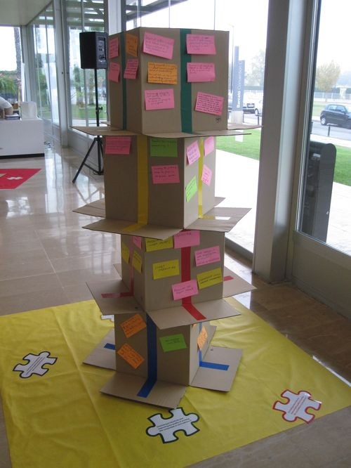 Four cardboard boxes in a pile with post-its stuck on all sides (world café results)